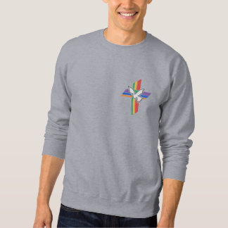 Cross of Peace with dove and rainbow Embroidered Sweatshirts
