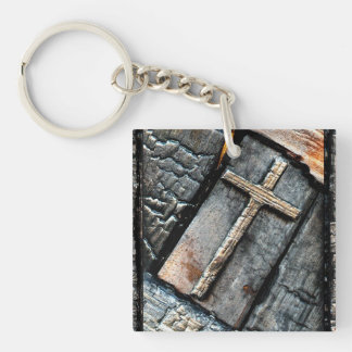 Cross of Protection & Path of Life Double-Sided Square Acrylic Keychain