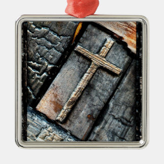 Cross of Protection Silver-Colored Square Ornament