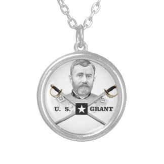 cross of us grant silver plated necklace
