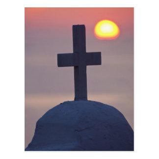 Cross on top of church at sunset, Mykonos, Postcard