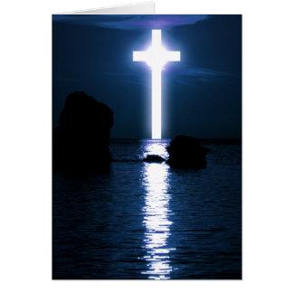 Cross Over Water Evening Sunset Easter Blank Insid Card