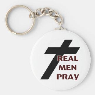 Cross - Real Men Pray Basic Round Button Keychain