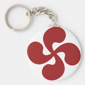 Cross Red Basque Lauburu Basic Round Button Keychain