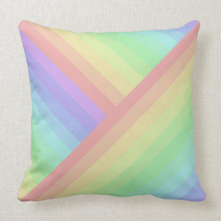 Cross-Section and Straight Rainbow Pastel Streaks Throw Pillow