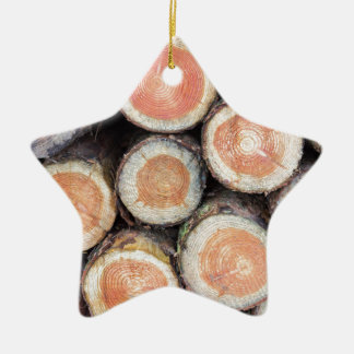 -Cross sections of pine trunks Ceramic Star Ornament