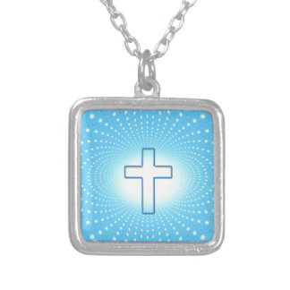 cross silver plated necklace