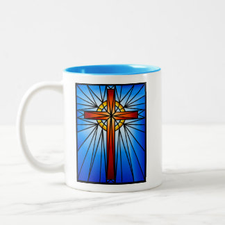 Cross Stained Glass Window-Illustration Two-Tone Coffee Mug