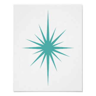 Cross Starburst Aqua Blue Mid Century Modern Retro Poster
