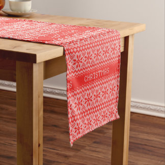 Cross Stitch Christmas Red ID208 Short Table Runner