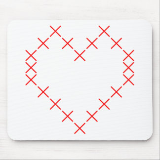 Cross stitch heart mouse pad