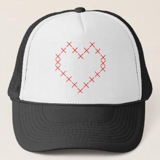 Cross stitch heart trucker hat