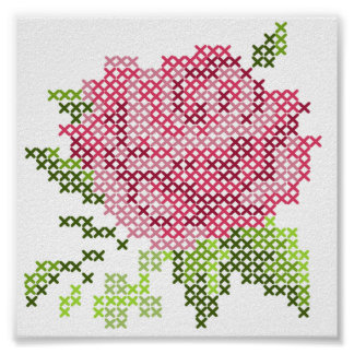 Cross Stitch Rose Poster