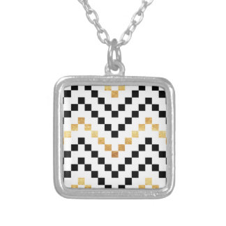 Cross Stitch Silver Plated Necklace