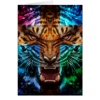 Cross tiger - angry tiger - tiger face - tiger wil card