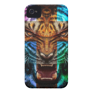 Cross tiger - angry tiger - tiger face - tiger wil Case-Mate iPhone 4 case