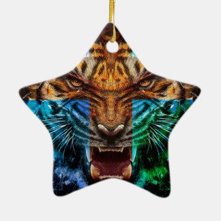 Cross tiger - angry tiger - tiger face - tiger wil ceramic ornament
