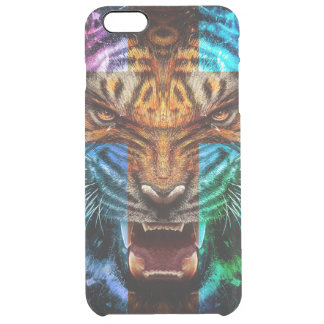 Cross tiger - angry tiger - tiger face - tiger wil clear iPhone 6 plus case