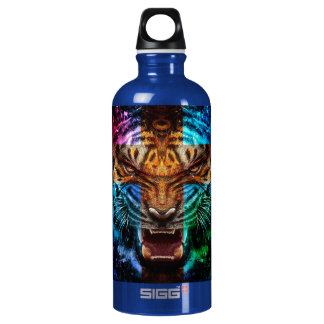 Cross tiger - angry tiger - tiger face - tiger wil water bottle