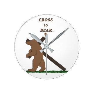 Cross to Bear (clock) Round Clock