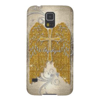 Cross w Glitter Diamond Jewel Look Angel Wings Galaxy S5 Cover