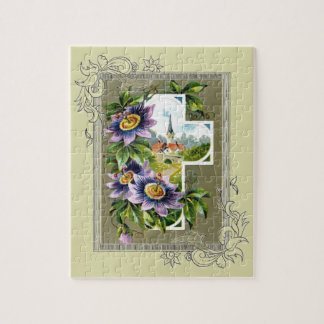 Cross With Church And Flowers Jigsaw Puzzle