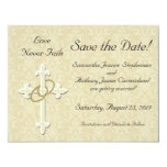 "Cross with Golden Rings Save the Date Cards 4.25"" X 5.5"" Invitation Card"