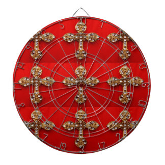 Cross with Jewels : Pattern on Red Base Dartboards