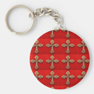 Cross with Jewels : Pattern on Red Base Key Chain