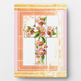 Cross With Pink Flowers Plaque
