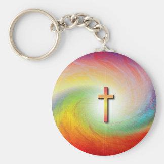 Cross with Rainbow Swirl Keychain