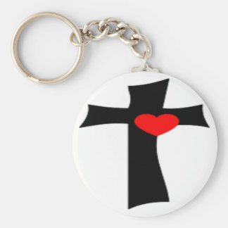 CROSS WITH RED HEART BASIC ROUND BUTTON KEYCHAIN