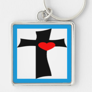 CROSS WITH RED HEART Silver-Colored SQUARE KEYCHAIN