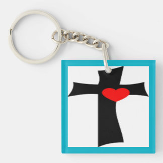 CROSS WITH RED HEART Single-Sided SQUARE ACRYLIC KEYCHAIN