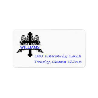 Cross with Wings and Name Plate Address Labels
