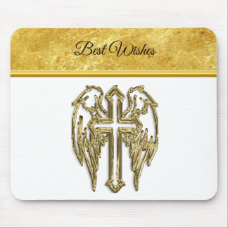 Cross with wings and white and gold foil design mouse pad