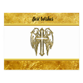 Cross with wings and white and gold foil design postcard
