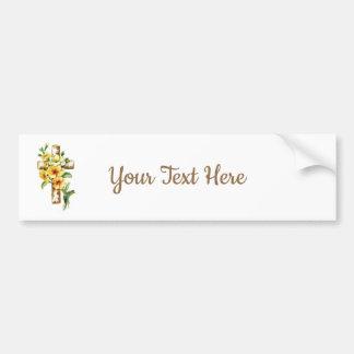 Cross With Yellow Flowers Bumper Sticker