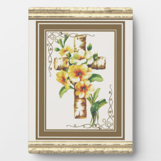 Cross With Yellow Flowers Plaque