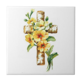 Cross With Yellow Flowers Tile