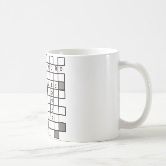 cross word puzzle coffee mug