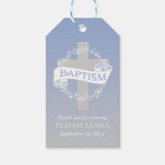 Cross Wreath | Berries Baby Boy Baptism Gift Tags