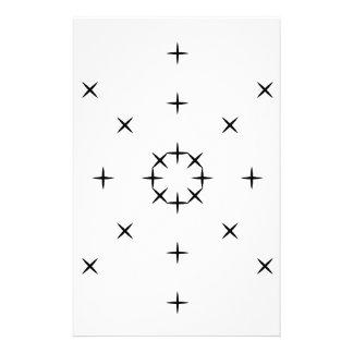 Cross, X, Hatch, Tick Tack Toe Pattern Black White Stationery Design