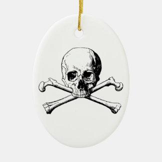 Crossbones skull ceramic ornament