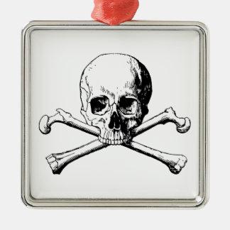 Crossbones skull metal ornament