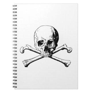 Crossbones skull spiral notebook