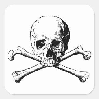 Crossbones skull square sticker