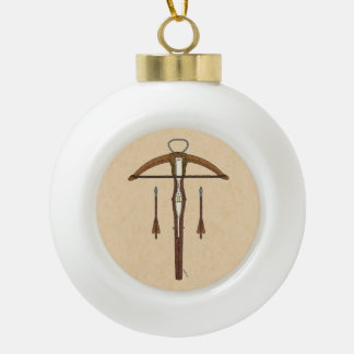 Crossbow Ceramic Ball Christmas Ornament