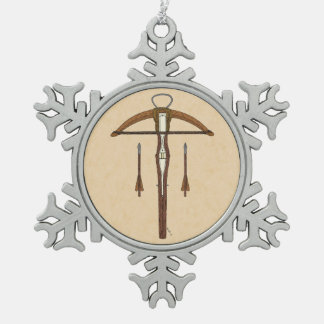 Crossbow Snowflake Pewter Christmas Ornament