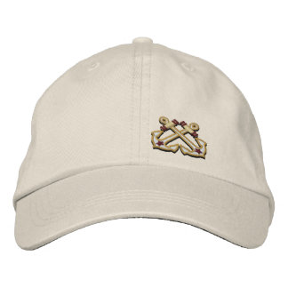 Crossed Anchors Nautical Star Embroidery Embroidered Hat